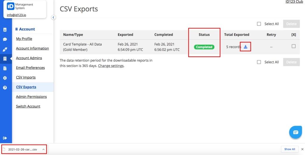 Export Complete